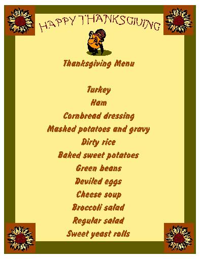 Thanksgiving Menu 2008