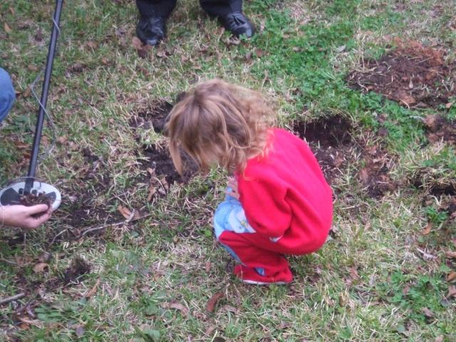 Vivian digging for gold