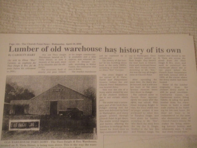 Article in the newspaper regarding the warehouse being taken down
