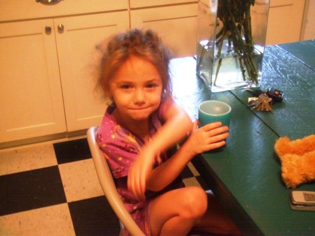 Vivian having coffee