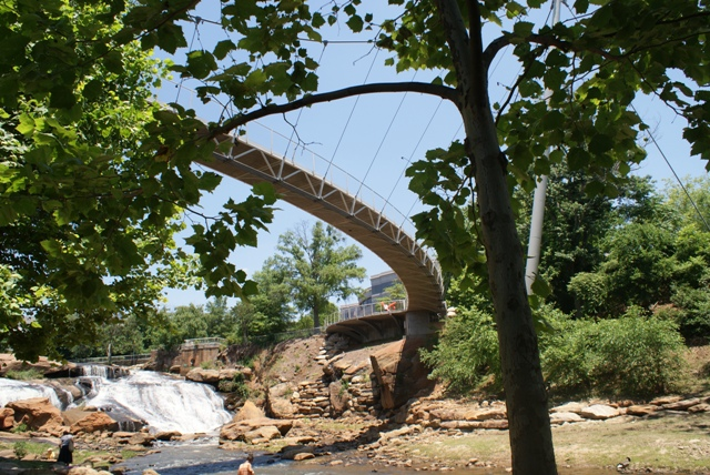 The bridge across the falls/creek