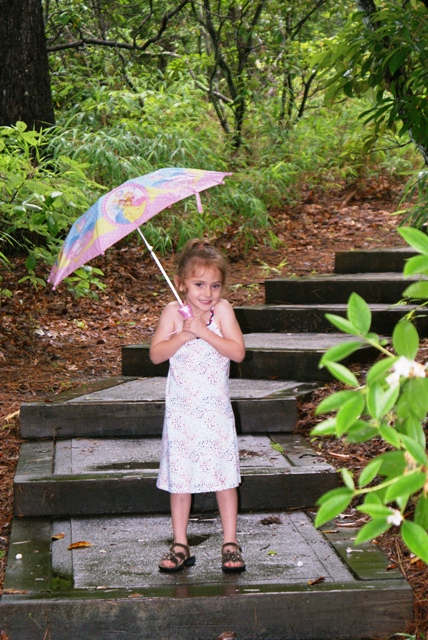 Vivian, singing in the rain, Oconee State Park