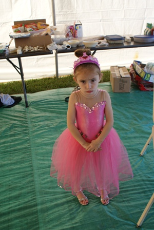 Vivian in her princess costume for the parade.  She is not happy about the attention she was getting.